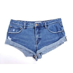 Free People Cuffed Light Distressing Shorts